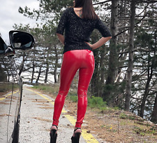 Ladies VINILE leggings luccicanti, rosso red L PVC VERNICE Elasticated Shiny discoteca Wet