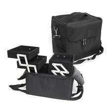 Black Big Extendable Multi Compartment Box Make Up Cosmetic Nail Tech Bag Case