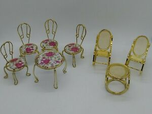 Gold tone metal miniature doll house furniture lot of eight pieces vintage 1985