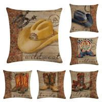 """18"""" West Cowboy Cotton Linen Pillow Case Cushion Cover Waist Cover Home Decor"""