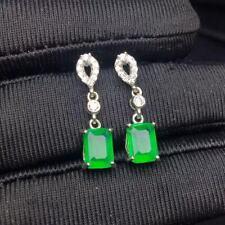 Certified Genuine Natural Emerald  Emerald S925 Silver Earrings Women Gift