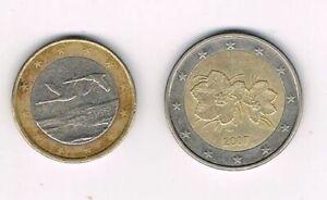 Finlande 2007, lot de 2 pieces coins : 1 euro, 2 euros,