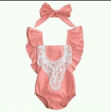 Baby girl coral lace crochet cross back bodysuit romper frilly cute 3/6m new UK!