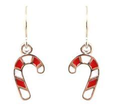 Zest Christmas Enamel Red White Candy Cane Drop Earrings for Pierced Ears