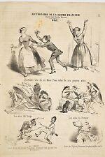 Le Charivari 1853 Caricature Charles VERNIER Aile Dictionnaire académie français