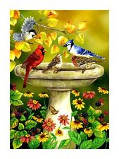 Autumn Leaves Birds Birdbath Blue Jay Cardinal Daisy Berries Moth Summer Lg Flag