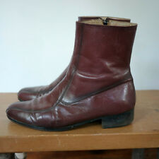 Vintage 60s Brown LEATHER Campus Cowboy Western Mod Zip Up Riding Boots 8.5D 42