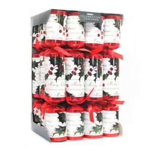 Holly Berry Fabric Crackers by Celebration Crackers (Red/White)