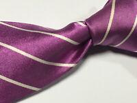 Ralph Lauren RLPL Mulberry Diagona Linen Pencil Stripe Handmade Silk Italian Tie