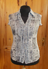 PER UNA M&S grey blue stretch lace short sleeve blouse tunic shirt top 16 44