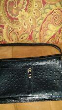 Vintage Na-Iri Accordion-Fold Divided ostrich Skin hand Bag black