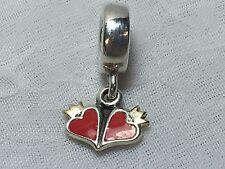 PANDORA STERLING SILVER 925 GOLD CROWN RED ENAMEL DOUBLE HEART DANGLE CHARM BEAD