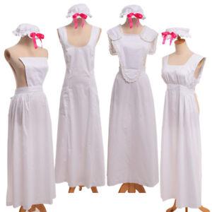 Vintage Girl Colonial Pinafore Bonnet MOP Hat Apron Victorian Maid Costume White