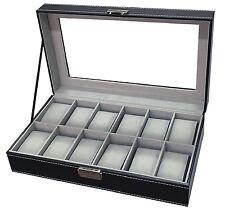 Watch Box Display Jewlery Case Luxury Organizer 12 Glass Top Storage Men Black