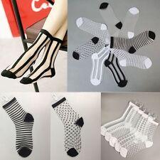 Mujer elástico calcetines encaje cristal transparente calcetín Medias Socks