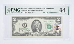 Rare PMG Grade 64 FR1935-E (EA Block) 1976 $2 Note Bill 1st Day Issue Stamp *911