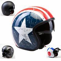 Motorradhelm Jethelm Chopperhelm Harley Helm Sonnenblende Matt Schwarz US Flag