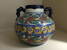 """VINTAGE Talavera Pottery Mexican Urn Pot Vase with Handles 8.5"""" tall x 9"""" Wide"""
