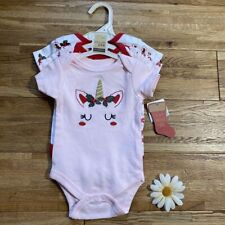 NWT 3 Pack Christmas Unicorn/Reindeer One Piece Size 0-3 Mo