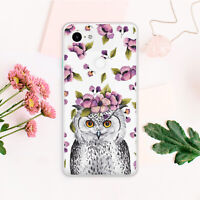 Owl Floral Animal Print Cute Silicone Case Cover Case For Google Pixel 2 3 3A XL