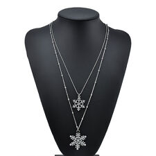 FASHION CRYSTAL CHRISTMAS SNOWFLAKE GOLD SILVER NECKLACE DOUBLE PENDANT SET GIFT
