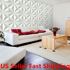 12Pcs 3D Diamond Pattern Wall Panel Paintable Covering Home Decal Decor 32sqft