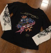 ED HARDY Kids Boys Size 4-5 Long Sleeve Shirt King Panther & Tattoo Sleeve Print