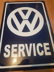 Emaillen Schild  VW Werkstatt Garage Service Beatle Golf Passat Käfer Tankstelle