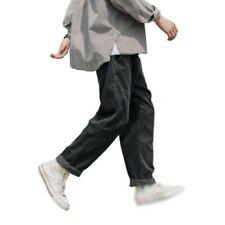 Mens Straight Corduroy Loose Fit Pants Vintage style Plain Classic Trouser New L
