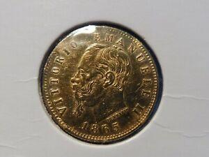 TRES RARE & JOLIE MONNAIE  5 LIRE OR ITALIE  1865  TTB+ ! A COLLECTIONNER (4)