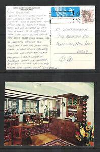 Post Card Switzerland Hotel Wilden Mann Lucerne 1988