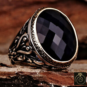 Blue Stone Mens Ring Sapphire Vintage Rings For Men Man Engraved Silver Jewelry