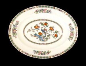 Beautiful Wedgwood Kutani Crane Brown Trim Large Oval Platter
