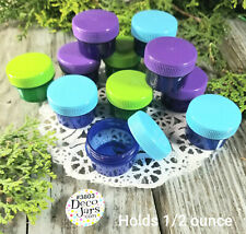 12 Purple Green Blue Jars w/ caps 1 TBLSP 1/2 oz Containers #3803 DecoJars USA