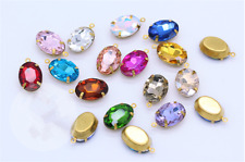 Vintage Czech Large unfoiled oval Brooch rhinestones 30x22mm  X2 COLOUR OPTION