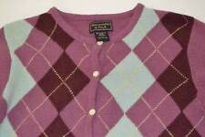 ABERCROMBIE & FITCH PURPLE BLUE PLAID CARDIGAN SWEATER WOMENS SIZE LARGE L