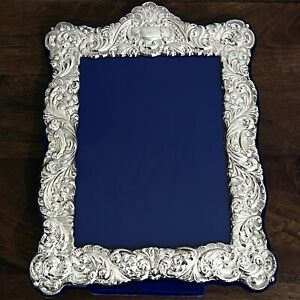 """Vintage English Silverplate Picture Frame 6x8"""" Photo Repousse RC Carr Sheffield"""