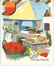 VINTAGE PIZZA TOMATO CHEF COOK ITALY STONE BRICK OVEN 1 COFFEE POT CUP CAT CARD