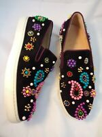 CHRISTIAN LOUBOUTIN 38.5 Sneakers Boat Candy Beaded Spikes Suede Black $1345