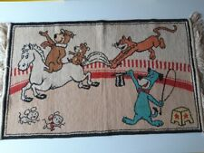VINTAGE HANNA BARBERA HUCKLEBERRY HOUND RUG  1960's  YOGI BEAR