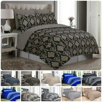 Beautiful 4-PCs 100% Cotton Bedding Set Modern Duvet/Quilt Cover Fitted Sheets