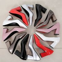 New Women's Fashion Middle Block Heels Pointed Patent Leather Candy Color Shoes