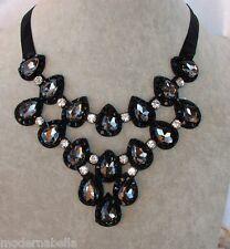 modernissima Collana Cristallo,girocollo,Collier nastro nero,goccia colre nero