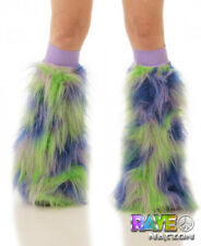s TrYptiX Purple/Green/Blue Gogo Boot Cover Leg Warmers / Lilac Knee Bands