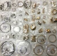 LOT OF 50+ PAIRS OF PIERCED EARRINGS GOLD/SILVER TONED METAL INDIVIDUALLY PACKED