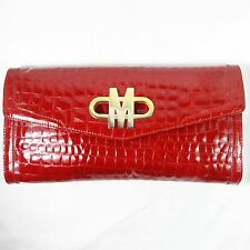 Moschino Red Patent Leather with a Reptile Texture Clutch Bag Brass M Clasp