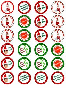 24 X PRE CUT ELF ON SHELF XMAS CHRISTMAS WAFER PAPER CUP CAKE TOPPERS