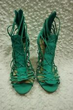 SKIN green 100% leather suede strappy stiletto high heels size 40EUR/9AU NWOT