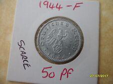 German 50 Reichspfennig 1944-F Third Reich Aluminium Coin WW2 pf