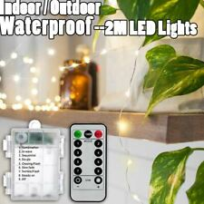 1-20x 2M LED Warm White Remote Christmas Fairy Lights Sealed Waterproof Outdoor